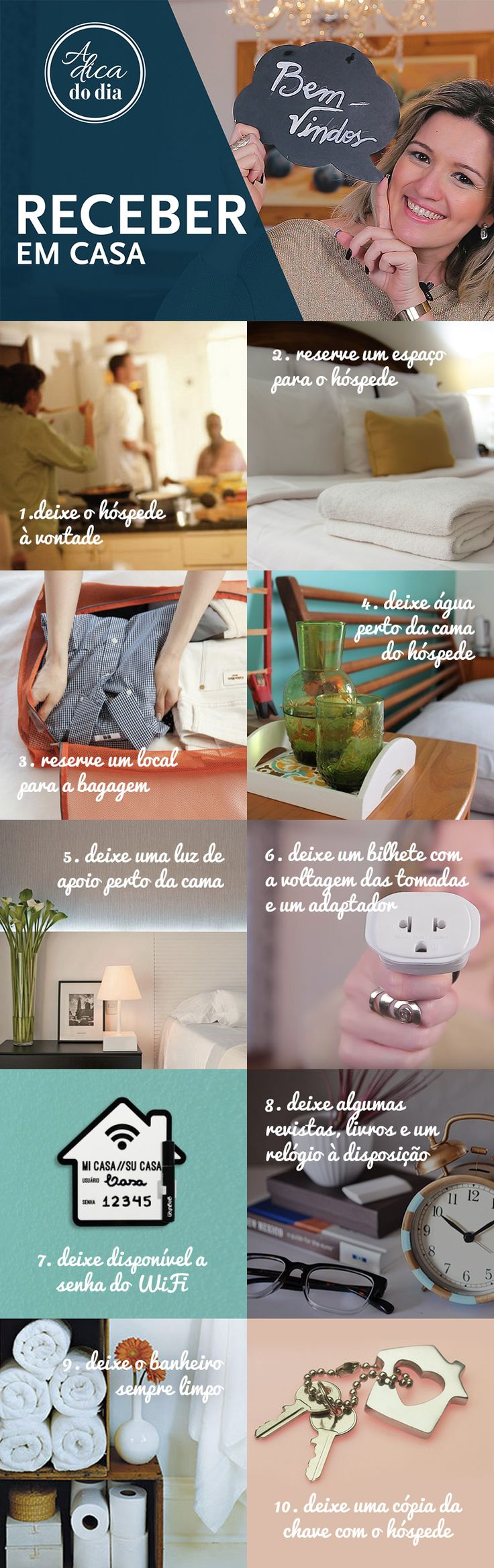 Hóspede em casa: onde e como acomodar? Receber é uma arte, por isso separamos 10 dicas práticas e muito simples que ajudam você a receber visitas para dormir, além de facilitar a tarefa de receber hóspedes em casa #ADICADODIA