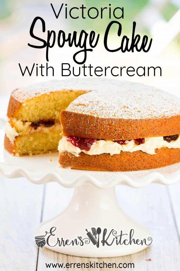 Terrific Victoria Sponge Cake With Buttercream Recipe Sponge Cake Funny Birthday Cards Online Inifodamsfinfo