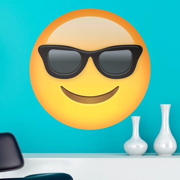 Adesivi Murali: Faccia sorriso occhiali da sole #vinili #emoji #emoticon #decorazione #muro #parete #faccias #StickersMurali