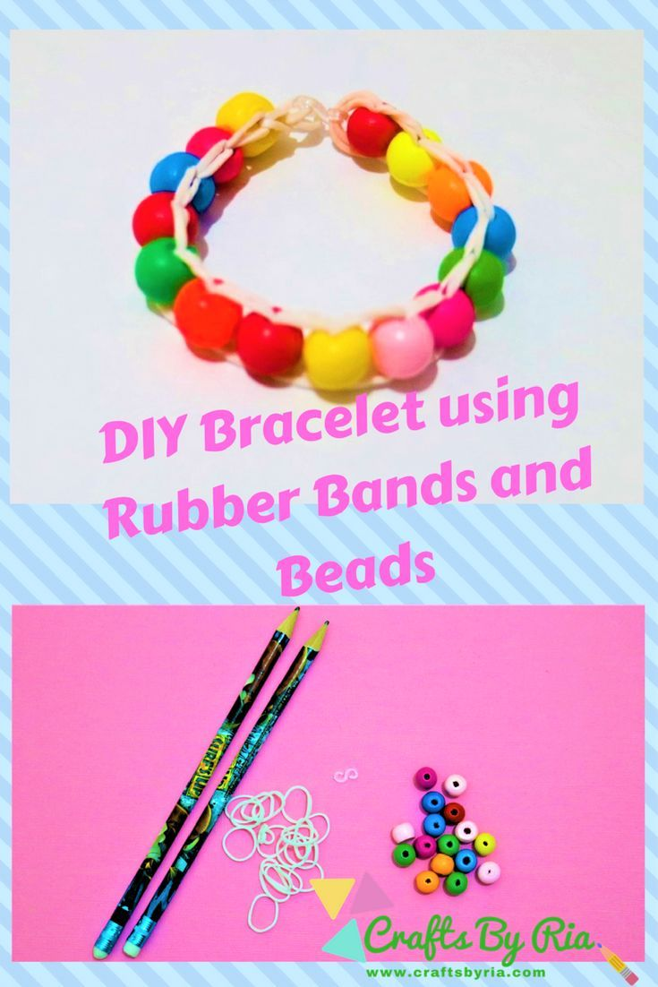 Easy Diy Bracelet Make Your Own Beautiful Easily With Rubber Bands And Beads This Is Very Fun To