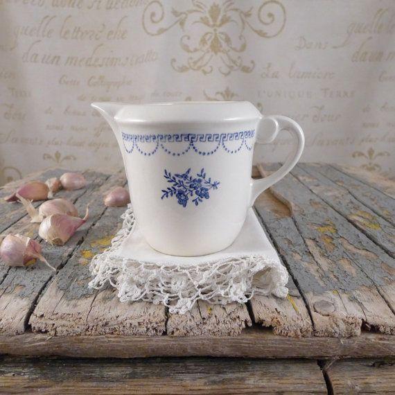 milk jug St.Amand , vintage retro, ceramics, plate, cup, antiques, container ,milk jug, jug, Ceranord,  French porcelain, blue flowers