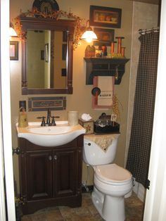 21 this is a little busy but I love some of the ideas...country bathroom oh my I love this...