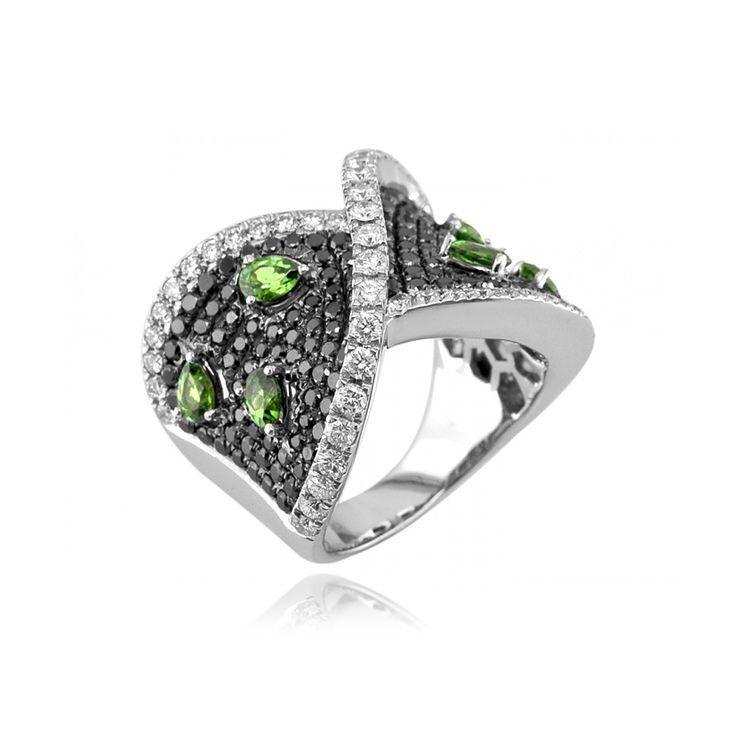 18kt White Gold Tsavorite Garnet & Diamond Ring. $5,530.