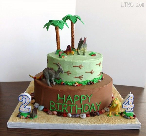 Lots of dinosaur cake ideas on this page. I quite like this one.