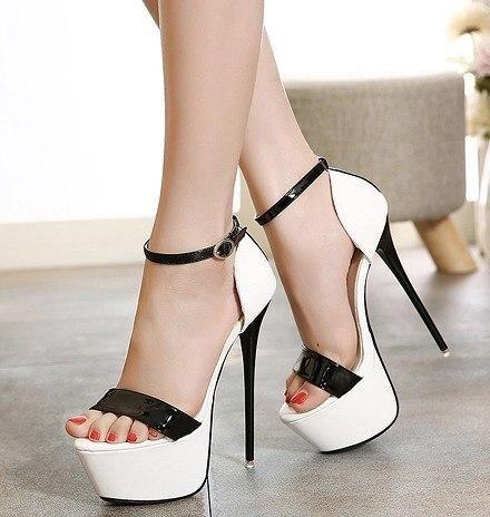 e14c2813d048c Eilyken Summer Women Sandals Sexy Pumps 16cm Women Heels Party Shoes  Strappy Heels Red White Wedding shoes size 34-40
