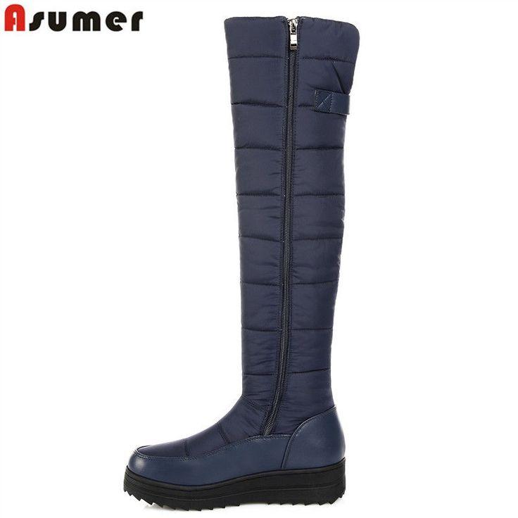 ASUMER 2018 new high quality down warm snow boots women round toe platform thigh #Unbranded #SnowWinterBoots