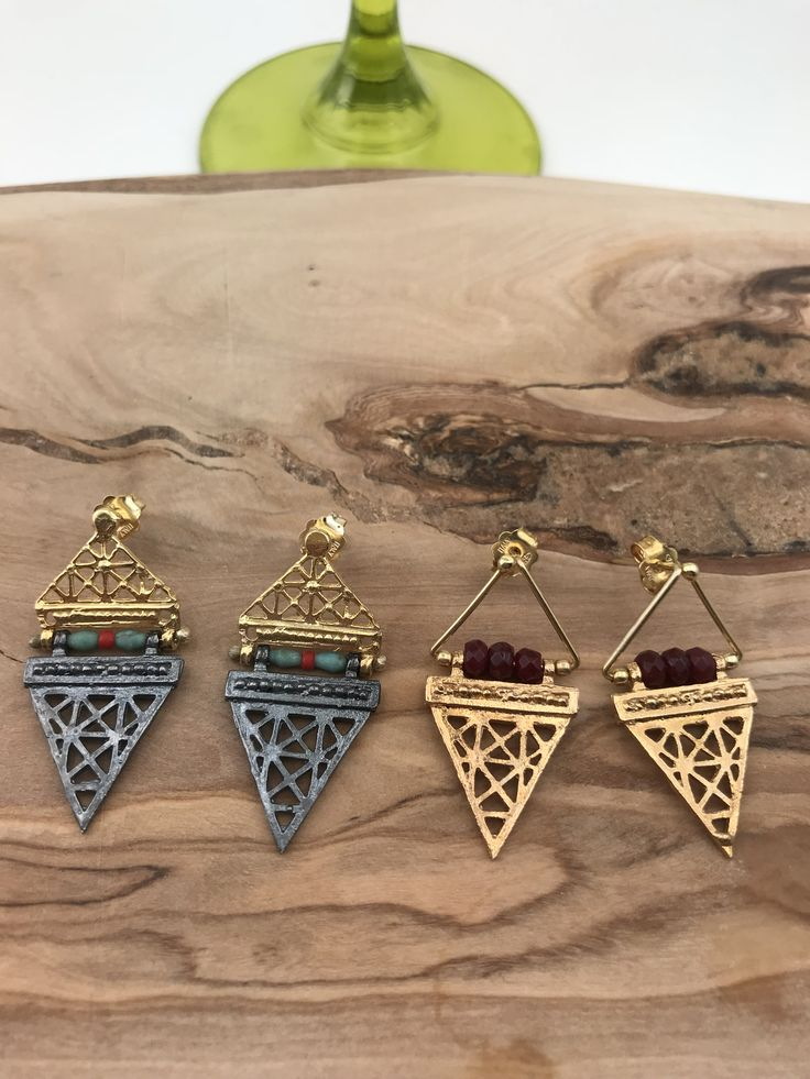 Hittite style  Earrings  silver&goldplated with multicolored stones