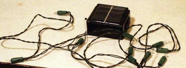 Make your own solar powered led string lights.  ($5 bucks max)