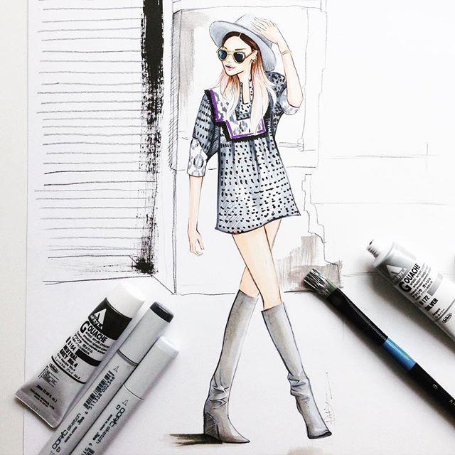 Fashion blogger @weworewhat fashion illustration by Houston fashion illustrator Rongrong DeVoe. More fashion illustration at www.rongrongdevoe.com