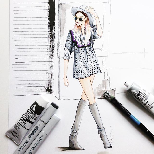 Fashion blogger @weworewhat fashion illustration by Houston fashion illustrator Rongrong DeVoe. More fashion illustration at www.rongrongdevoe.com