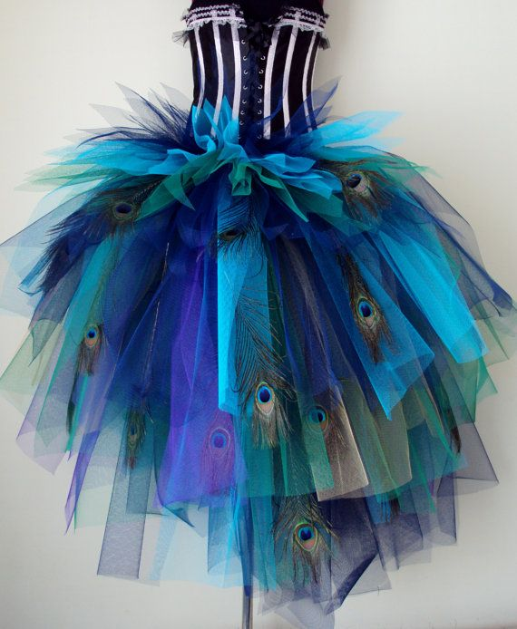 French Navy Blue Purple Peacock  Feathers Burlesque Tutu Bustle Belt size 4 -10 U.S. 6 -12 U.K.