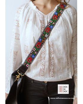 Hand embroidered with beads - detachable bag strap -boho chic - bohemian - worldwide shipping #vyshyvanka #romanianblouse #ia #ieromaneasca #bohostyle #bohemian #fashion #embroidery #handmade