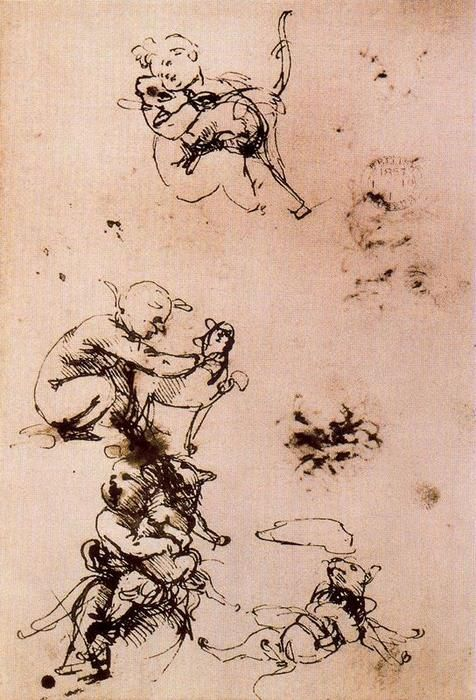 Study of a child with a cat, Ink by Leonardo Da Vinci (1452-1519, Italy)