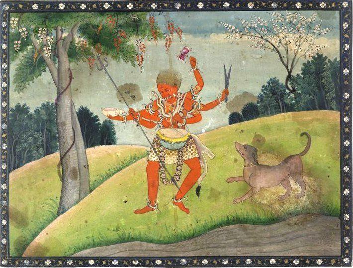 Dancing Bhairava, pahari painting