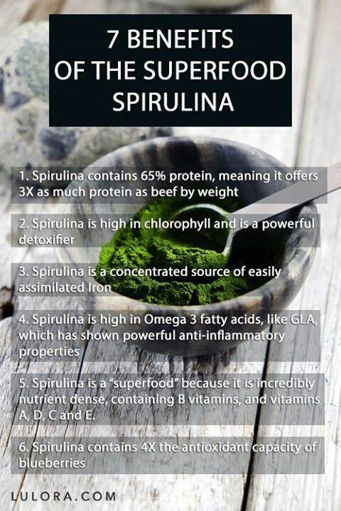Os 6 beneficios da Spirulina: 1- Contem 65% de proteina: 3 vezes mais que carne…
