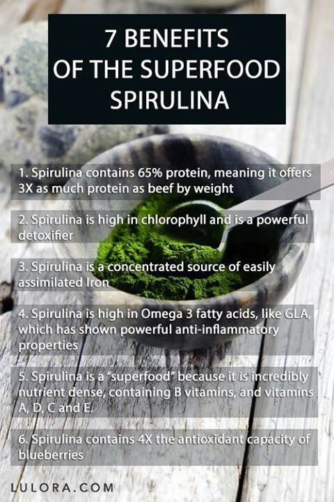 Benefits of spirulina | more nutritional benefits than meat and a single vegetable serving! Look into organic spirulina tablets or ground spirulina to include in smoothies and juices :)