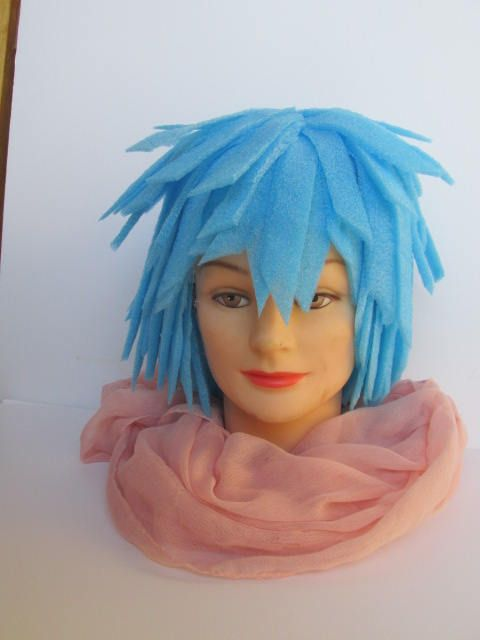 Blue Foam Costume Wig, Light weight, pixie style,Comfortable wig, 22 in. cir., Clowning Wig, Dress Up Wig, Imaginative Play Kids, Men Women by OutoftheSewingBox on Etsy