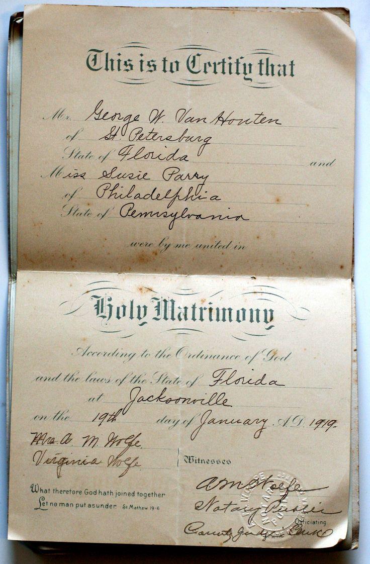 181 best vintage jax images on pinterest jacksonville florida 1919 marriage certificate jacksonville florida george van houten to susie parry aiddatafo Images