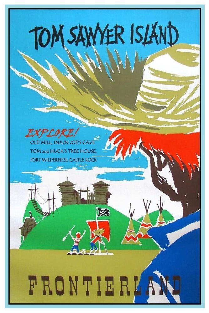 "VINTAGE DISNEY POSTER FRONTIERLAND TOM SAWYER ISLAND 8.5/"" x 11/"" B2G1 FREE!!"