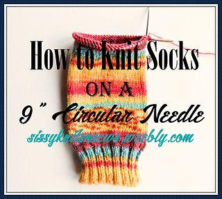 "How To Knit Socks on a 9"" Circular Needle ----- Sock Knitting Blog, sock knitting recipe, Sissy Knits & Sews"