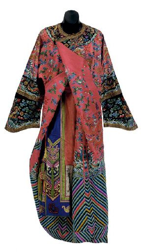 AN EMBROIDERED PINKISH-RED GROUND SILK DRAGON ROBE WITH A MULTI-COLORED SILK SKIRT LATE QING DYNASTY