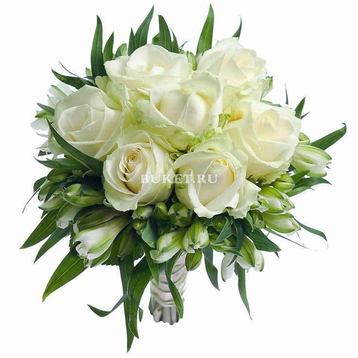 Букет из белых роз и альстромерий свадебный Пломбир