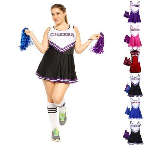 Cheerleader #fancy dress #pompoms long socks cheerleading oversize #uniform costu,  View more on the LINK: http://www.zeppy.io/product/gb/2/162200934333/