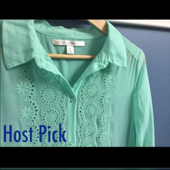Lauren Conrad Mint ShirtHP 1/18 NWOT Mint colored long sleeve shear blouse. Make an offer using the offer button or take advantage of my bundle discount! Trades PP Lauren Conrad Tops Blouses