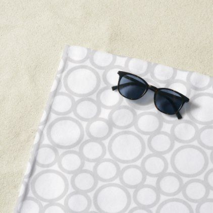 White Circles Modern Beach Towel - home gifts ideas decor special unique custom individual customized individualized