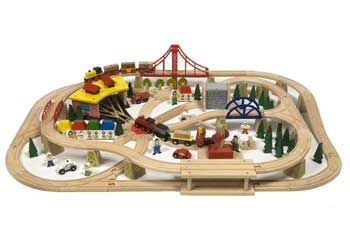 Big Jigs - Freight Train SetEverything from tunnels, bridges, figures, houses and trains is included in this large 130-piece train set. Kids can make a thriving rail-city with all the different components. The layout size is 110x74cm. Ages 3+ years