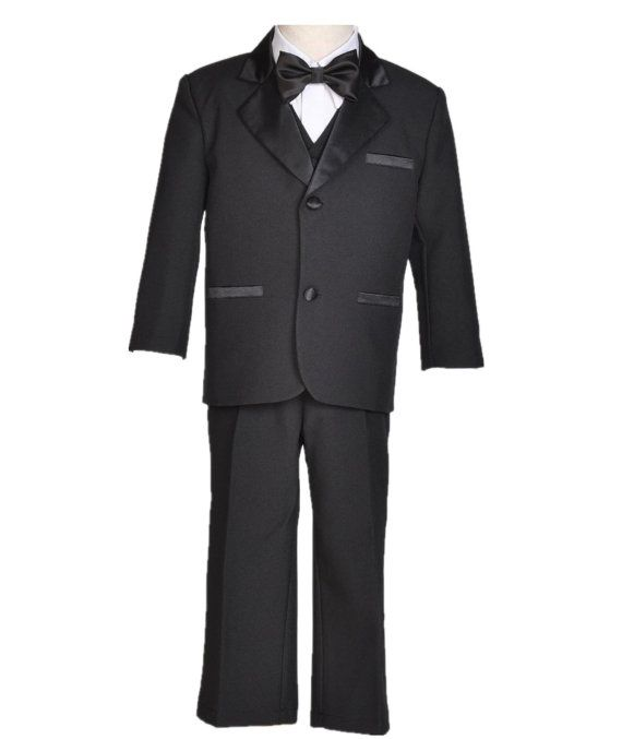 Boy Teen Tuxedo Suit 5pcs. set vest shirt tie by ekidsbridalusa