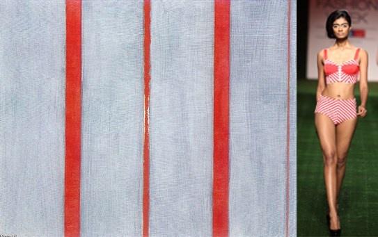 #BarnettNewman THENAME1(1949) #ShivanandNarresh    Striped Bralet & High-Waisted Bikini