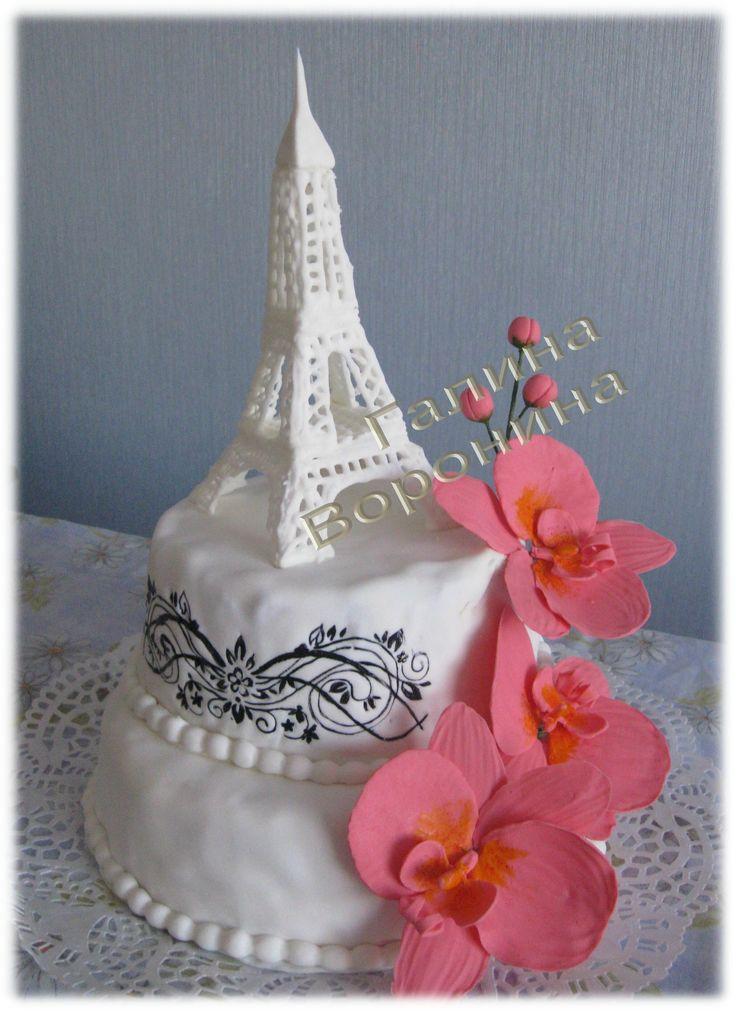 """Торт """"эйфелева башня"""". Орхидеи и эйфелева башня."""