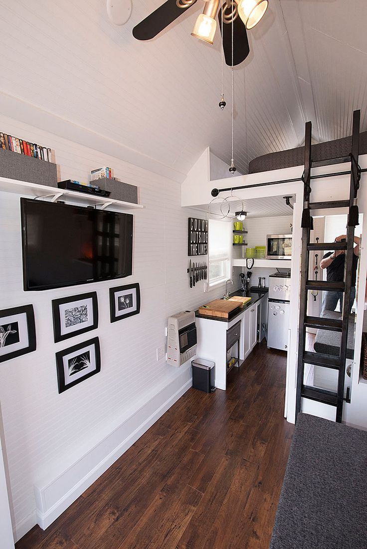 Tiny house floor plans print and cut worksheets further room design - Tiny House Kitchen With Mezzanine Loft Bed Love 3 Http
