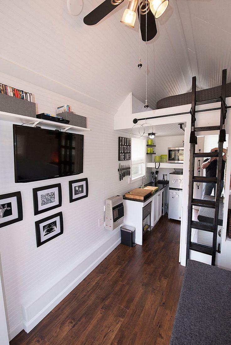 Tiny house kitchen with mezzanine loft bed ! LOVE !!! <3 http://tinyhouseswoon.com/the-shoebox/