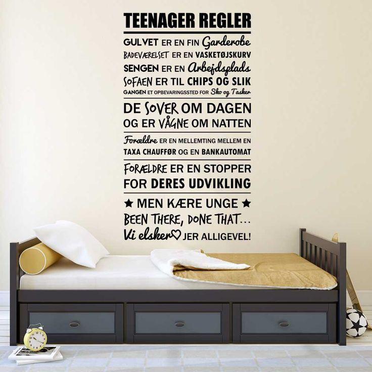 Køb Teenager regler wallstickeren - fra kun 299KR. ★ Markedets bedste kvalitet ★ Egen produktion ★ 30 dages returret ★ Hurtig levering ★