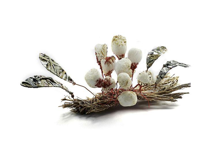 brooch » Ana Nadjar, cactus wood, plastic, cotton, silver, copper