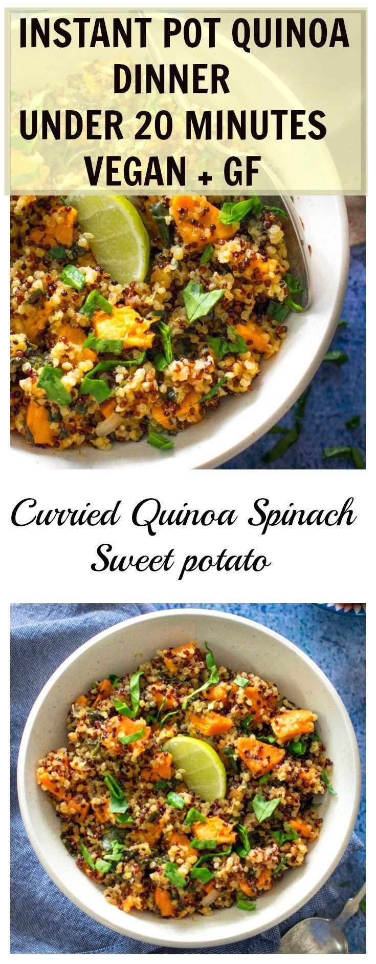 Instant pot curried quinoa spinach sweet potato under 20 minutes makes a healthy vegan dinner . How to make quinoa .Recipes using quinoa . Gluten free vegan dinner recipes. How to pressure cook quinoa.