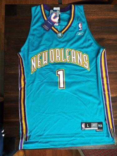 NWT Reebok Vintage Baron Davis New Orleans Hornets Authentic jersey SZ L RARE please retweet