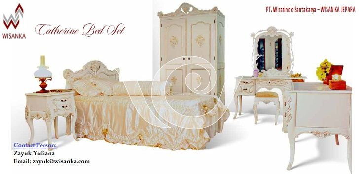 Chaterine Bedroom Set  Mahogany French Painted Furniture with small flower carving and hand paint.. More info: zayuk@wisanka.com