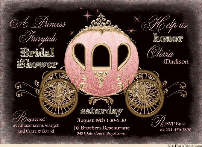 Midnight Princess Bridal Shower Invitation - Black, Gold & Coral