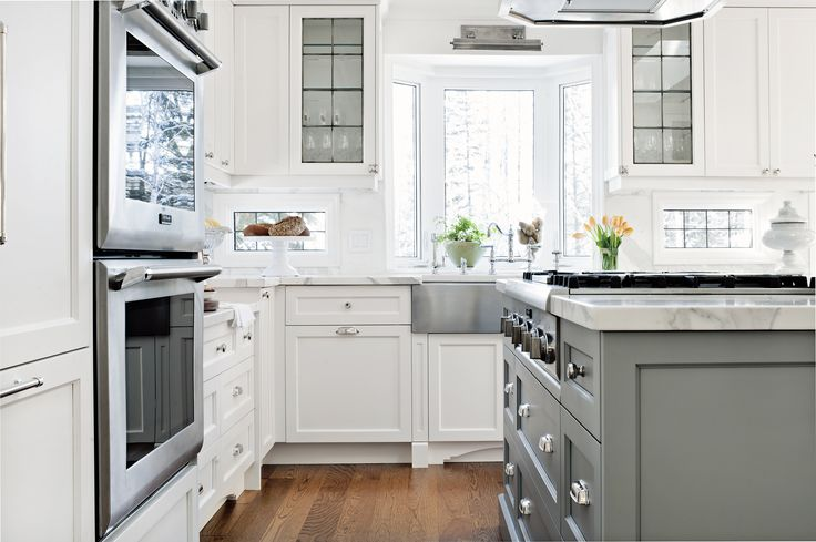 White Kitchen Grey Island Marble Kitchens