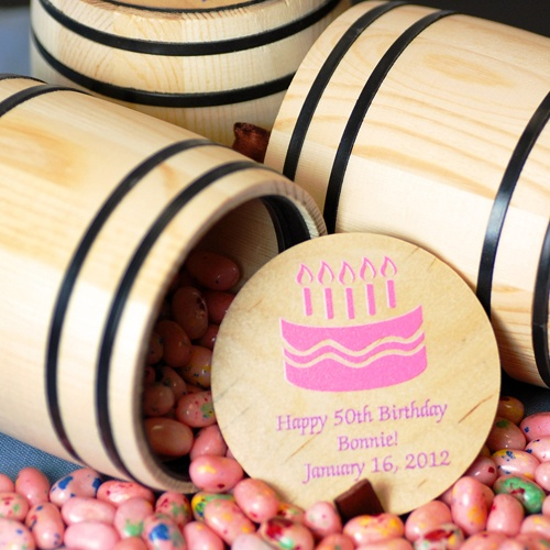 Personalized Candy Barrel by Beau-coup - Wine barrel treats (pickles & shot glass holders are also good for candy)