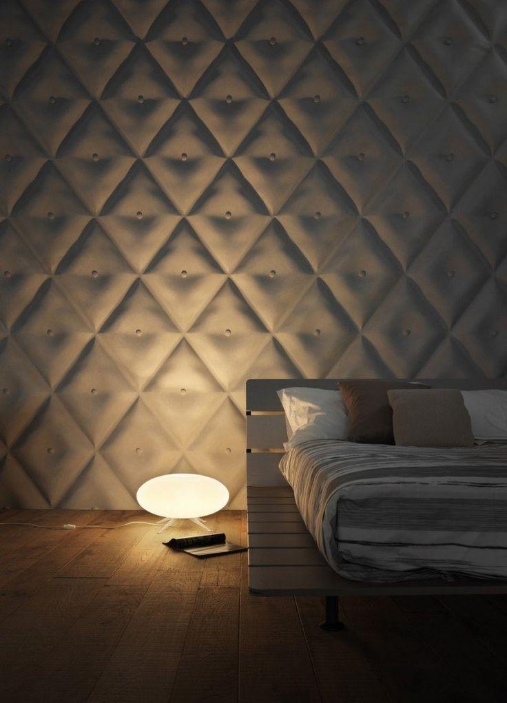 panneau mural décoratif à effet 3d dans la chambre à coucher