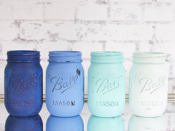 Blue Baby Shower Decor - Blue Ombre Jars - Blue Painted Mason Jars - Distressed Mason Jars - Nautical Theme Decor