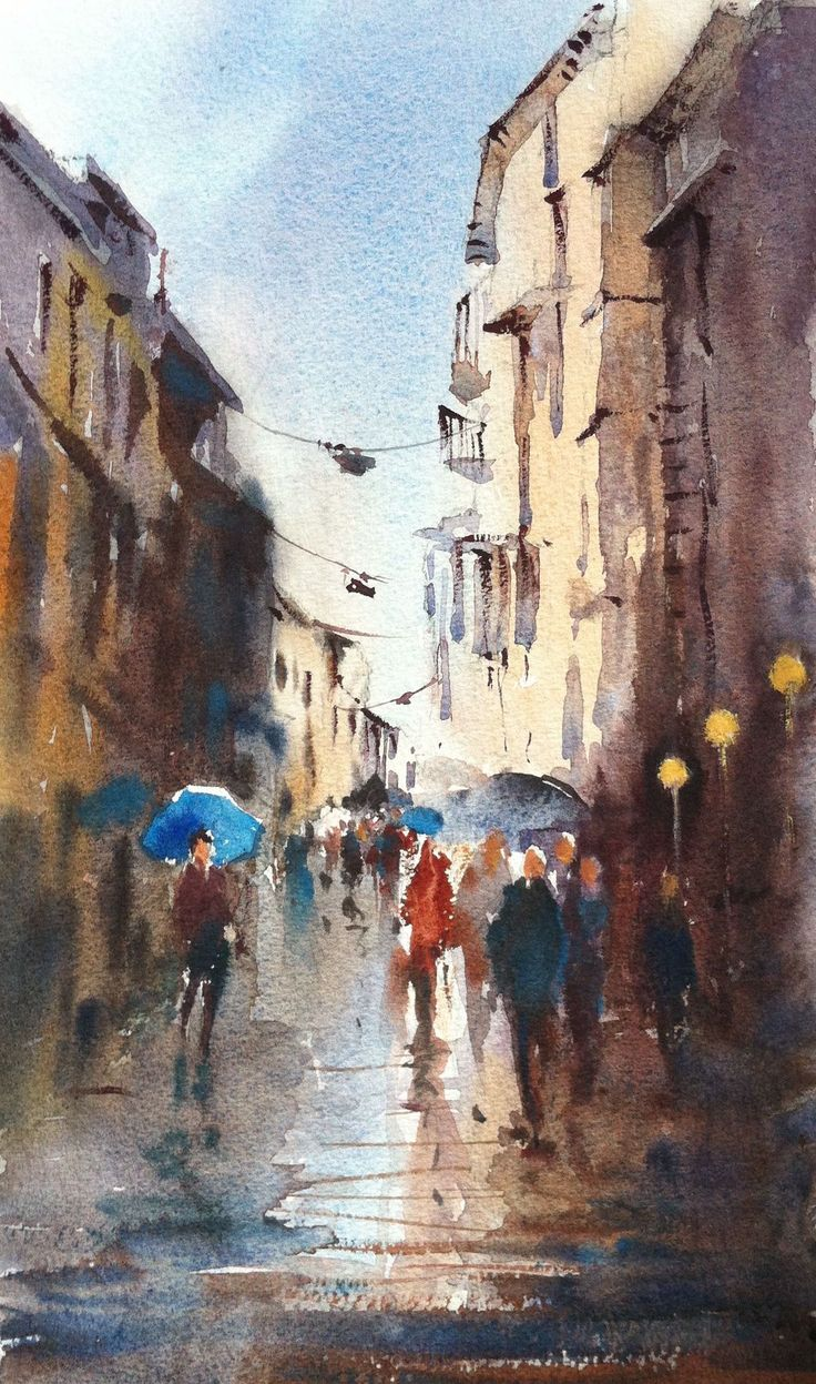 Streetscape - Rome, 2015 by Annette Raff, Watercolour on Arches 640gsm cold pressed,  (in the style of 'Alvaro')  This was a demonstration painting done in the Broadbeach watercolour class on Wednesday 14th April 2015.  One of my own photos from travel in 2003 was the inspiration.  We began with a loose sky and street wash and proceeded to paint a little of the dark sides with very thick paint, taking it right down to the bottom of the page while leaving some soft lights in the centre area.