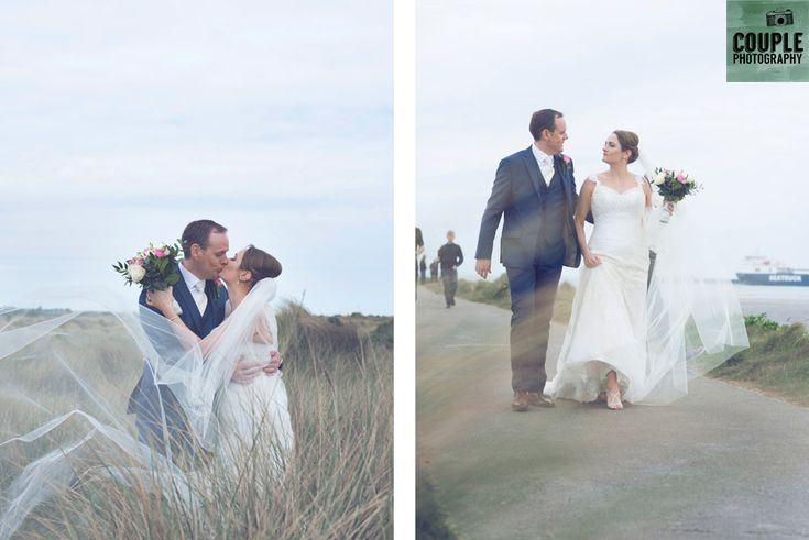 The bride's veil blows in the wind at Dollymount. Weddings at Clontarf Castle Hotel by Couple Photography.