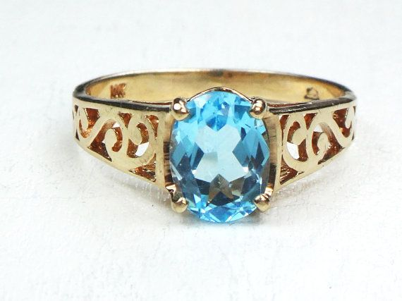 Vintage 10k Gold Blue Topaz Ring Yellow Gold Blue Stone Ring Pierced Scroll Design Right Hand Ring December Birthstone Ring Size 6 5 Yellow Topaz Ring Blue Topaz Ring Blue Stone Ring