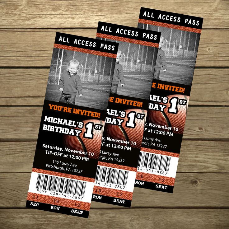 Basketball Ticket Birthday Invitation