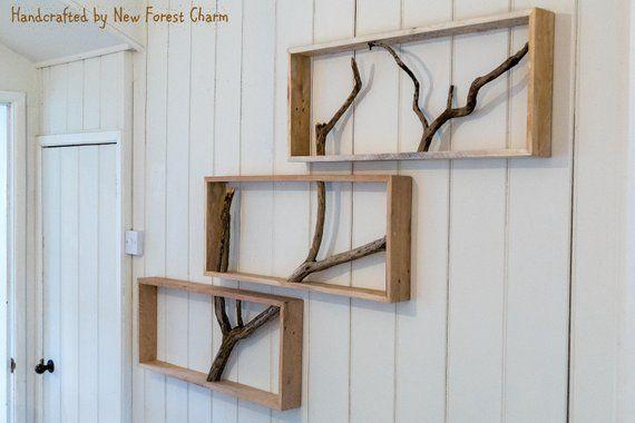Box Shelf Wall Art Reclaimed Wood Shelf Tree Branch Unique Etsy Reclaimed Wood Shelves Unique Shelves Box Shelves